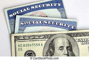 social säkerhet, &, avgång, inkomst