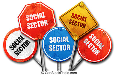 social sector, 3D rendering, rough street sign collection