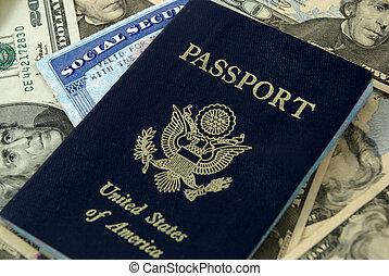 social security and passport - social security card, a ...