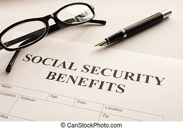 social security benefits form showing financial concept in ...