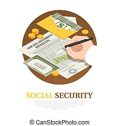 Social Security Benefits Isometric Composition - Document ...