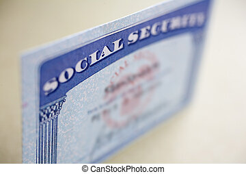 Real Social Security card with selective focusing