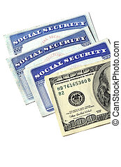 Social Security Cards and Cash Money - Detail of several ...