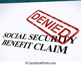 Social Security Claim Denied Stamp Showing Social Unemployment Benefit Refused