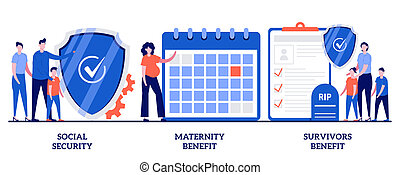 Social security, maternity and survivors benefit concept with tiny people. State allowance vector illustration set. Retirement insurance, parental support, death certificate, financial help metaphor