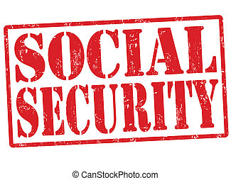 Social security grunge rubber stamp on white, vector illustration