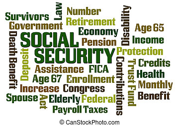 Social Security word cloud on white background