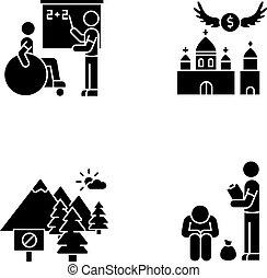 Social service black glyph icons set on white space