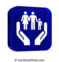 Social Services - Glass button icon with white health care...