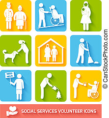 Social services icons set flat - Social help services and...