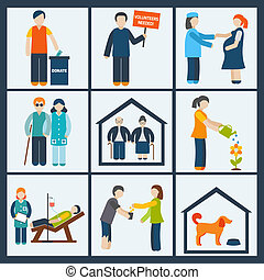 Social services icons set - Social services and volunteer...