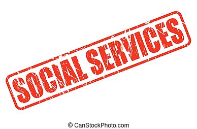 SOCIAL SERVICES RED STAMP TEXT ON WHITE