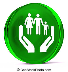 Social Services - Round glass icon with white health care...