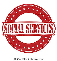 Social services - Stamp with text social services inside,...