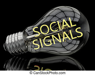 Social Signals - lightbulb on black background with text in it. 3d render illustration.