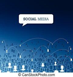 social, signaltjänst, concept., vektor