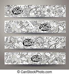 social, sketchy, média, hand-drawn, internet, doodles, bannières, dessin animé