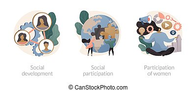 Social skills competence abstract concept vector illustration set. Social development and participation, women role in society and politics, gender equality rights, volunteering abstract metaphor.