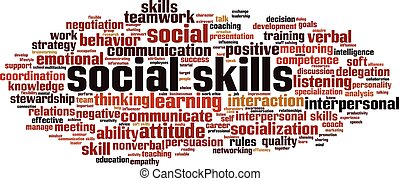 Social skills word cloud concept. Collage made of words about social skills. Vector illustration