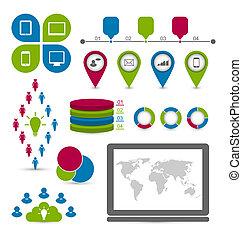 Social statistics set infographic elements