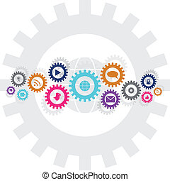 Social technology and media gear wheel chain in bright...