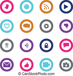 Social technology and media icon set surrounded with circle...