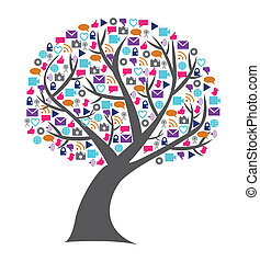 Social technology and media tree with the leafs replaced by small networking icons in bright colors