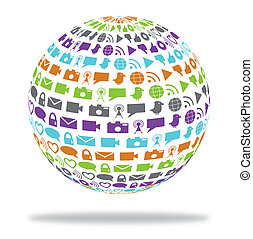 Social technology globe filled with media icons - Globe...