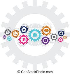 social, tecnologia, e, mídia, roda engrenagem, corrente