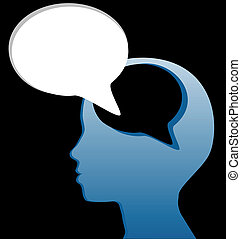 Social think speak mind speech bubble cut out - Woman speaks...