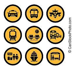 social, transporte, amarela, ícones
