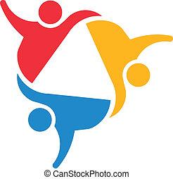 social, uni, 3 personnes, group., équipe, partners., concept