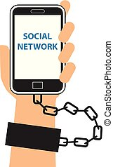 social, vício, vetorial, rede, ícone