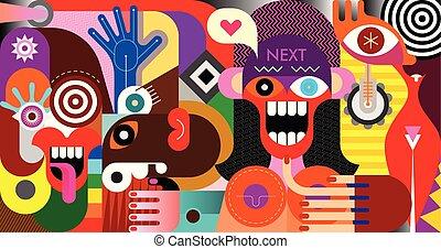 social, vecteur, gestion réseau, illustration, gens