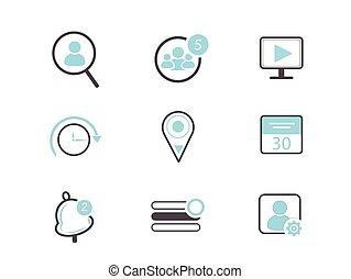 social, vecteur, média, icône