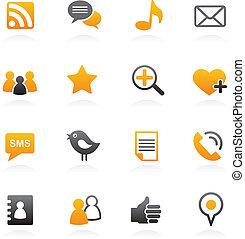 social, vector, red, iconos