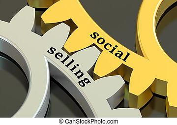 social, vente, concept