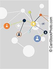 social, vetorial, conceito, rede