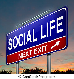 social, vida, concept.