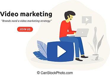 Social video marketing concept modern flat design. Video blogger icon.