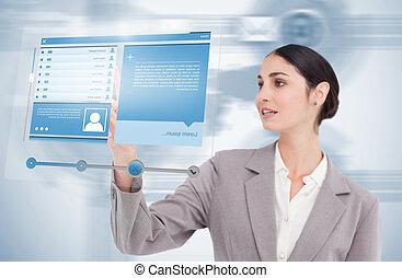 social, vista, utilizar, futurista, medios, mujer de ...