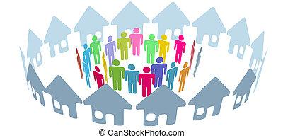 social, voisin, gens, rencontrer, dans, maison, anneau