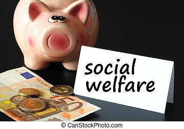 social welfare concept with money and piggy bank on black background
