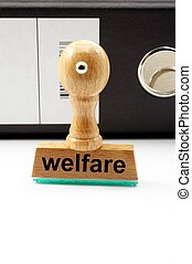 social welfare concept with stamp in office or bureau and...