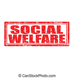 Social Welfare-stamp - Grunge rubber stamp with text Social...