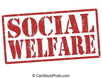 Social welfare grunge rubber stamp on white, vector illustration