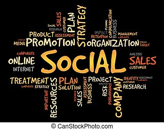 Social word cloud, business concept