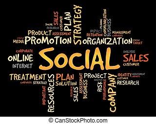 Social word cloud, business concept