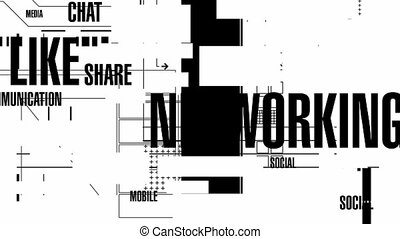 Social Words Mono HD - Random, blinking, animated background...