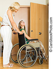 Social worker and disabled woman